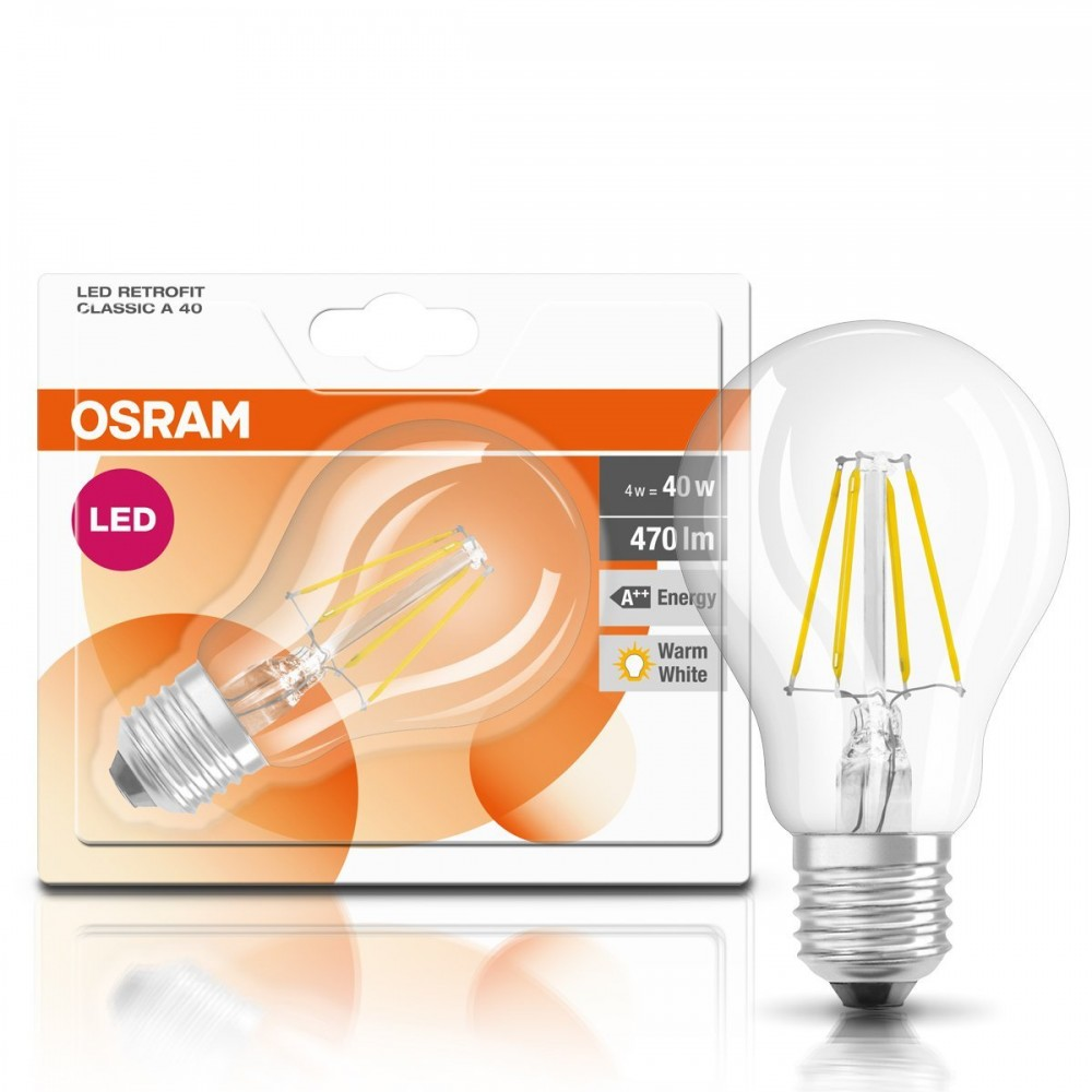 6er pack osram led birne bulb filament cla40 4w 827 2700k warmwei e27 klar ebay. Black Bedroom Furniture Sets. Home Design Ideas